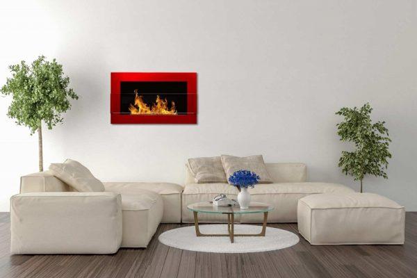 Биокамин NiceHouse со стеклом <br> 65х40 красный глянец