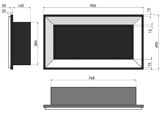 Биокамин Frame  <br> 90cm белый