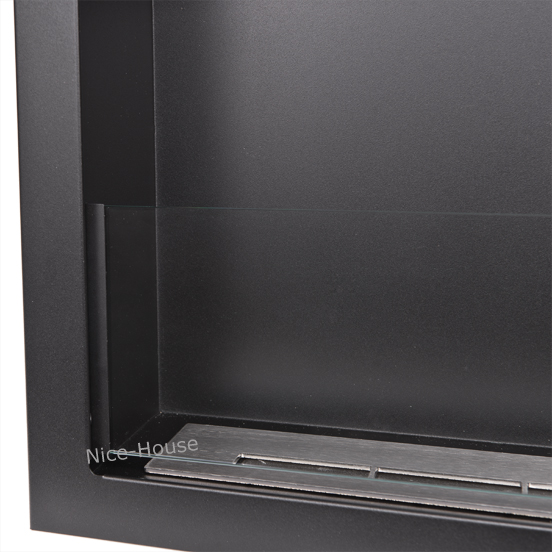 Биокамин NiceHouse со стеклом <br> 120х46 черный