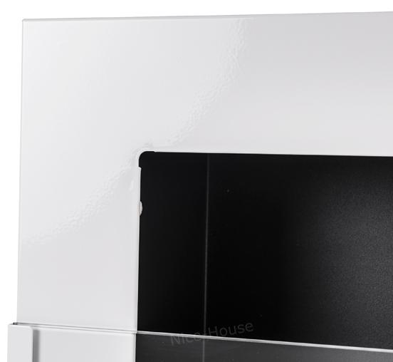 Биокамин NiceHouse со стеклом<br> 90х40 белый глянец