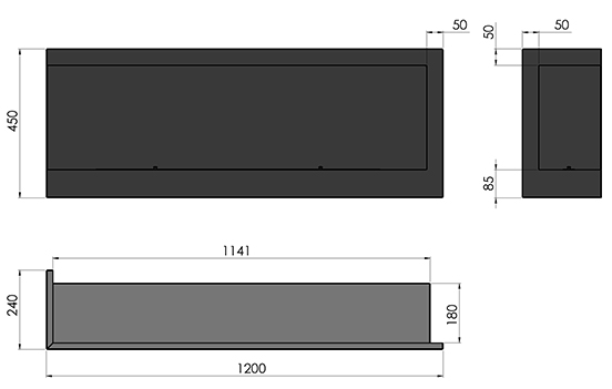 Биокамин SFire Corner <br>120 см левый угол