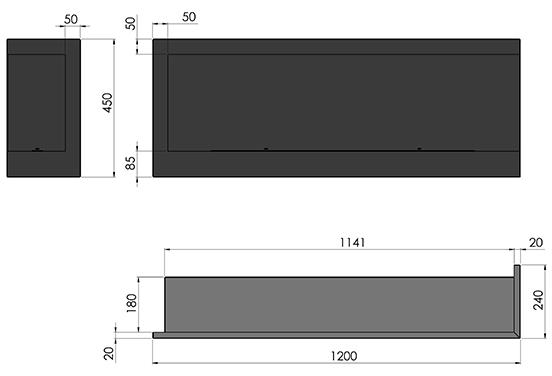 Биокамин SFire Corner <br>120 см правый угол