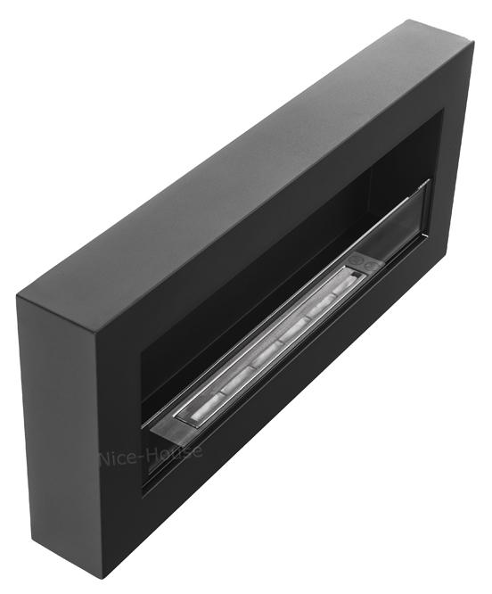 Биокамин NiceHouse со стеклом <br> BOX 90х40 черный