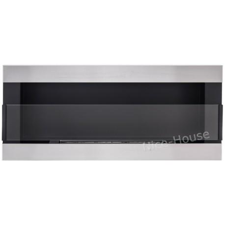 Биокамин NiceHouse H-line <br> 90х40 стальной со стеклом