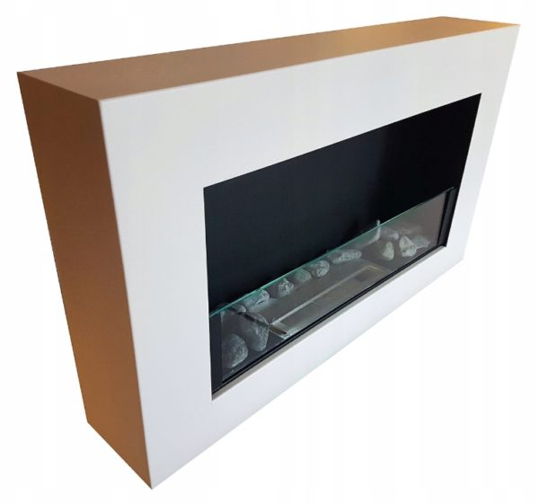 Биокамин BOX IN FLAT <br> 65х40 белый со стеклом